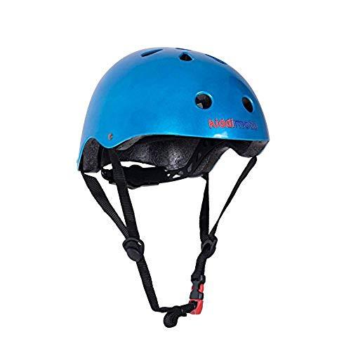 Kiddimoto Fahrrad Helm für Kinder / Fahrradhelm / Design Sport Helm für skates, roller, scooter, laufrad - Blau Metallic - M (53-58cm)