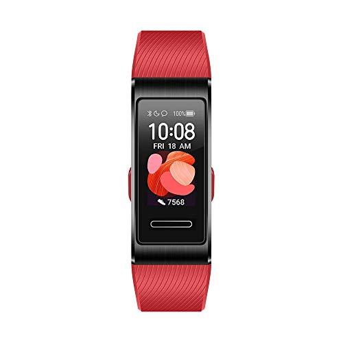 Huawei Band 4 Pro Fitness-Aktivitätstracker (All-in-One Smart Armband, Herzfrequenz- und Schlafüberwachung, eingebautes GPS, farbenreiches Touch Display, 5 ATM wasserfest) schwarz mit rotem Armband