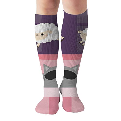 Cat Sleeping Mask Jumping Sheeps Cant Adorable Objects Compression Socks Women & Men, Best Athletic & Medical Running Flight Travel Pregnant 19.68 Inch