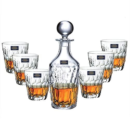 Ensemble De Spiritueux en Verre en Cristal Ensemble À Vin Domestique Verre À Whisky 350 ML Et Récipient À Vin 750 ML Ensemble 7 Pièces (Color : Clear, Size : 9 * 10.5cm*6)