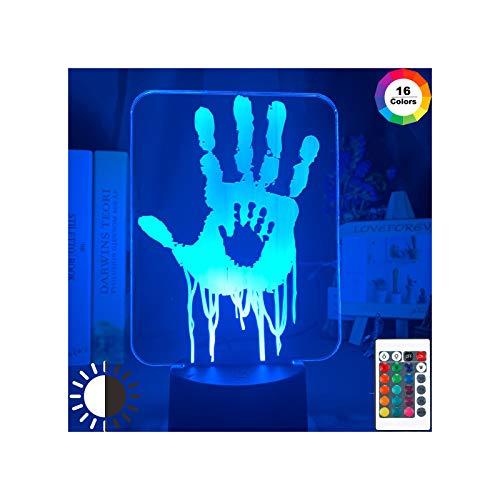 HOKVJ Videojuego Death Stranding Hand Prints 3D Lámpara De Ilusión Led Luz De Noche para Decoración De Habitación De Niños Regalo Genial para Niños Gamers Nightlight Lámpara De Escritorio USB