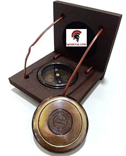 Stanley London Antique Brass Compass Vintage Handmade Pocket Compass W/Box