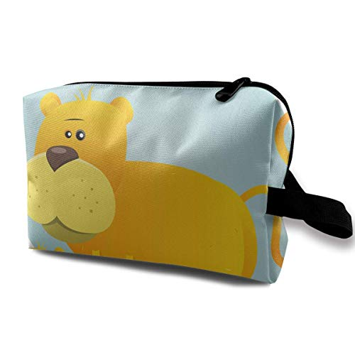 Cartoon Female Lion and Its Babies Small Travel Toiletry Bag Super Light Toiletry Organizer for Overnight Trip Bag