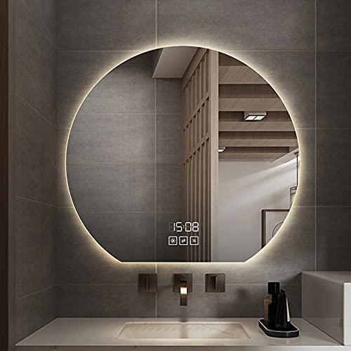 ZQKJLH Espejo de baño Redondo sin Marco, Espejo retroiluminado Moderno y contemporáneo Iluminado, Espejo de Maquillaje montado en la Pared con luz LED sobre el tocador