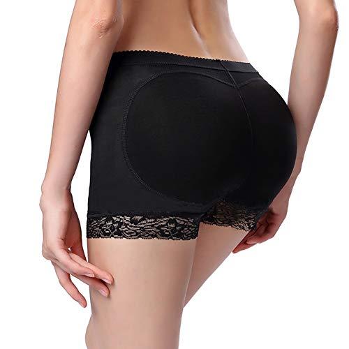 H2okp-009 Frauen Nahtlose Spitze Gepolsterte Bum Lifter Höschen Hohe Taille Sexy Unterwäsche Form Tragen Slips Schwarz S