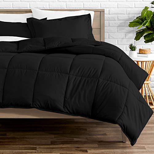 Bare Home Comforter Set - Queen Size - Goose Down Alternative - Ultra-Soft - Premium 1800 Series - Hypoallergenic - All Season Breathable Warmth (Queen, Black)