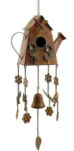 Bronze/Copper Color Hanging Birdhouse Wind Chimes (House Watering Can)