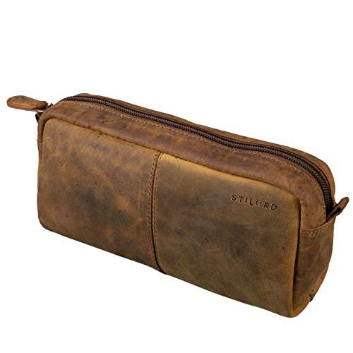 STILORD 'Spencer' Estuche para Lápices Cuero Vintage Bolsa Portatodo para Maquillaje Cartuchera de Genuino Piel, Color:marrón - Medio