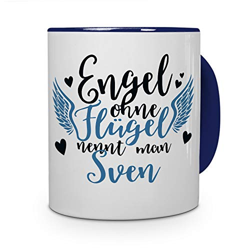 printplanet Tasse mit Namen Sven - Motiv Engel - Namenstasse, Kaffeebecher, Mug, Becher, Kaffeetasse - Farbe Blau