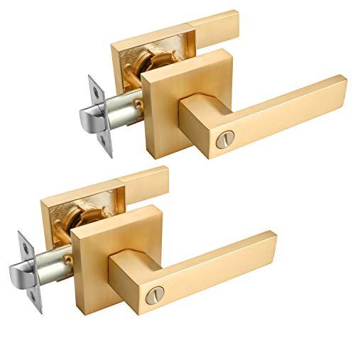 EHOMEWARE 2 Pack Gold Door Handles, Privacy Door Levers Bed and Bath Leverset Lockset, Satin Brass Finish, Universal Handing with Square Door Knobs