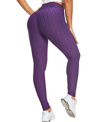 FitValen Leggings para mujer, push up, deportivos, cintura alta, leggins de panal de miel, para yoga, anticelulitis, pantalones de fitness, ajustados, #1 violeta., L