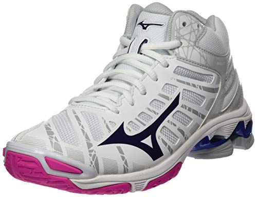 Mizuno Damen Wave Voltage Mid Volleyballschuhe, Weiß (Wht/Astral Aura/Glacier Gr 16), 38.5 EU