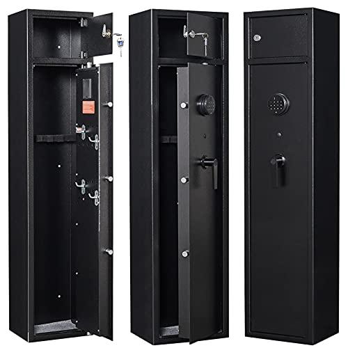 Large Biometric Gun Safe, Fingerprint Electronic Digital Rifle Safe For 4-5 Rifles Guns Cabinet with Double Door Storage Shelves For Home Storage of Shotguns Guns Pistols Ammunition Jewelry Valuables