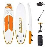 AQUATEC Planche Gonflable Stand Up Paddle | Board Sup 320cm ou 35cm avec Pagaie Réglable, Sac à Dos PVC & Pompe Double Action (Lucia, 350cm + siège 'Confort')