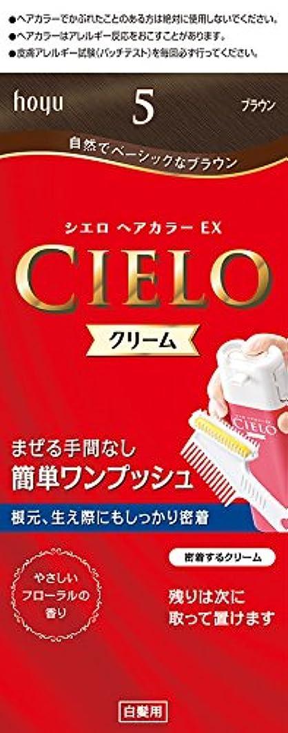 排除神話罰ホーユー シエロ ヘアカラーEX クリーム5 (ブラウン) 1剤40g+2剤40g+手袋+ブラシ付