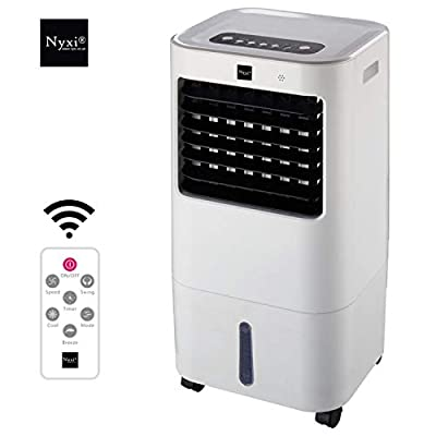 15L Evaporative Air Cooler Fan & Air Purifier Portable High Cooling Water Tank with Remote Control and LED Display, 3 Fan Speeds with Oscillation Function, Purifier, for Home and Office Use, White