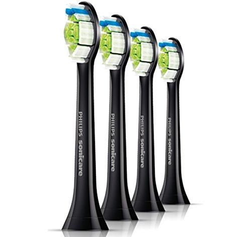 Philips Sonicare Ersatzbürsten Original DiamondClean HX6064/33 für 100% weißere Zähne – Passen auf jede Philips Sonicare Zahnbürste mit Aufsteck-System – 4er Pack, Standard, Schwarz