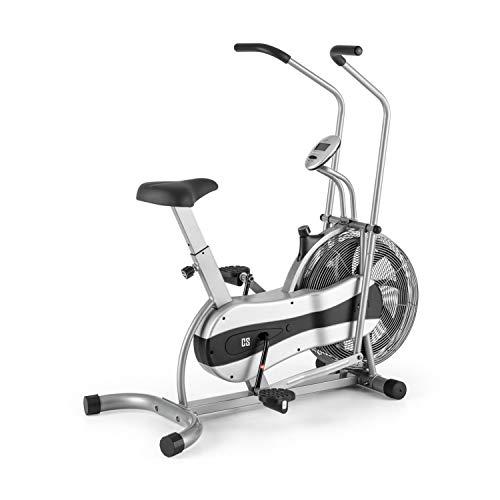 CapitalSports Stormstrike - Bicicleta estática ergométrica, Carga máx. hasta 120 kg, Pantalla integrada, Altura sillín Regulable en 7 Niveles, Entrenamiento Dual (Piernas y Brazos), Gris