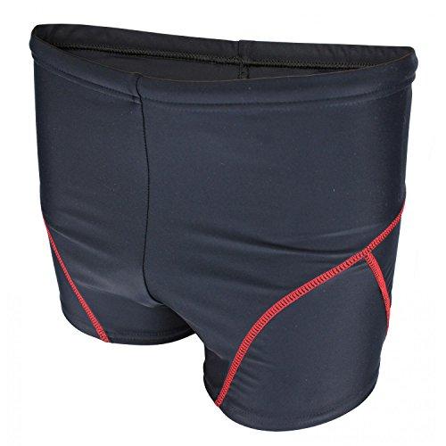 Aquarti Jungen Badehose Schwimmhose kontrastfarbene Nähte, Farbe: Schwarz/Rot, Größe: 158
