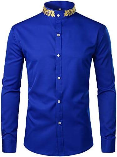 ZEROYAA Mens Hipster Gold Embroidery Mandarin Collar Slim Fit Long Sleeve Casual Dress Shirts product image