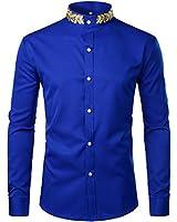 ZEROYAA Mens Hipster Gold Embroidery Mandarin Collar Slim Fit Long Sleeve Casual Dress Shirts Z52 Blue Large