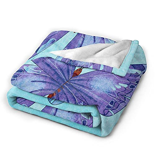Manta de forro polar para decoración del hogar, ala de mariposa azul, ultra suave, micro ligera, manta para sala de estar