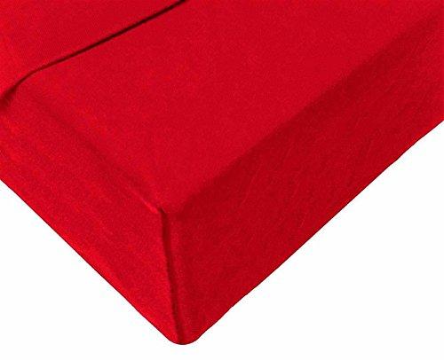 Double Jersey – Spannbettlaken 100% Baumwolle Jersey-Stretch bettlaken, Ultra Weich und Bügelfrei mit bis zu 30cm Stehghöhe, 160x200x30 Rot - 4