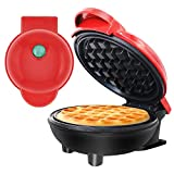 Mini Waffle Maker for Classic Belgian Waffles 4', Non-Stick Portable Mini Maker for Panini, Hash browns & other on the go Breakfast, Lunch, or Snacks - Red