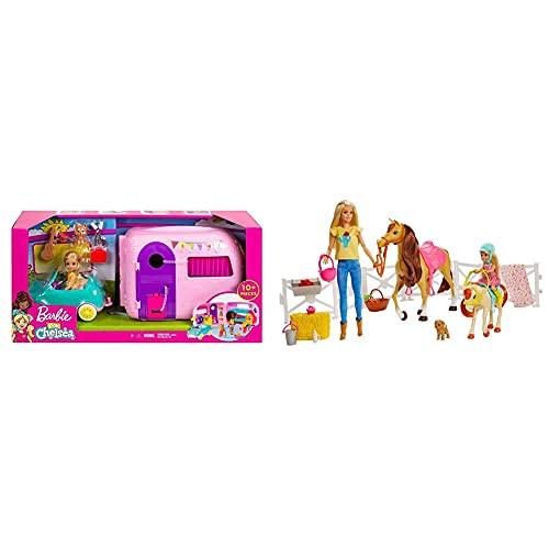 Mattel Barbie Chelsea Muñeca Y Su Caravana, con Perrito Y Accesorios + Barbie Muñecas Y Chelsea con Caballos Y Accesorios, Regalo para Niñas Y Niños 3-9 Años Embalaje Sostenible