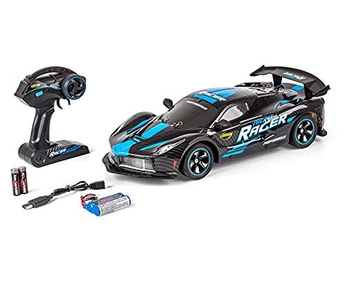 Carson 500404219 1:10 Night Racer 2.4GHz 100% RTR blau-ferngesteuertes Auto, Geschwindigkeit bis zu 25 km/h, Felgen LED Beleuchtung, inklusive Batterien und Fernsteuerung