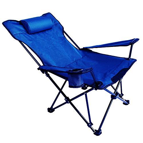 Sedia a sdraio pieghevole, Sedia Sdraio Canapone Moderna, Poltrona Imbottita con Struttura in Acciaio, Perfetta per Giardino, Terrazza E Salone,Blue
