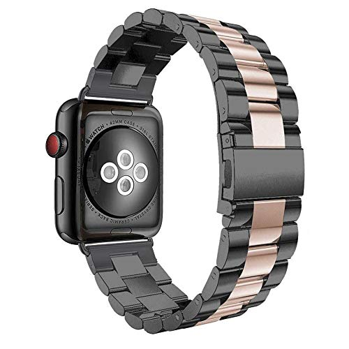 Apple Watch armband 42 mm, Urhenarmband Apple Watch Series 3 dames zwart iWatch 42mm Smartwatch reserveband roestvrij staal armbanden Apple Watch Nike 42MM 1 - zwart + roségoud.