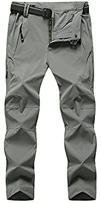 TBMPOY Men's Outdoor Lightweight Windproof Belted Quick-Dry Hiking Pants(03thin Light Grey,us M)