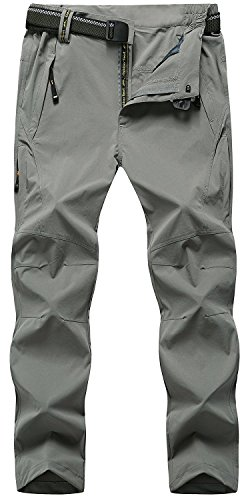 TBMPOY Men's Outdoor Lightweight Windproof Belted Quick-Dry Hiking Pants(03thin Light Grey,us XXL)