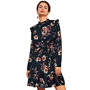 Women's Long Sleeve Ruffle Trim Self Tie Floral Print Short Dress