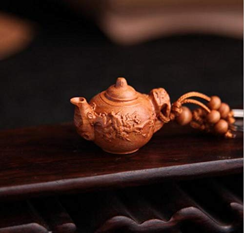Perzik houtenpot sleutelhanger sleutelhanger voor mannen damesmode sleutelversierentheepot sleutelhangers