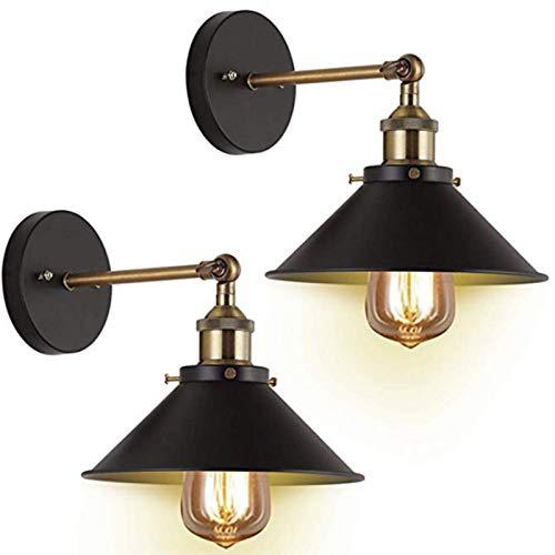 CHUN LING Lámpara de Pared, Apliques de Pared enchufables Estilo Regulable, con Interruptor de Encendido/Apagado, lámpara de Pared de Metal Negro para Dormitorio, Juego de 2