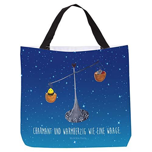 Mr. & Mrs. Panda Tragetasche, Tasche, Shopper Sternzeichen Waage mit Spruch - Farbe Sternenhimmel Blau