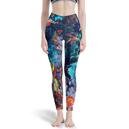 Color Cloud Mujeres High Waist Soft Yoga Pantalones básicos para correr para fitness