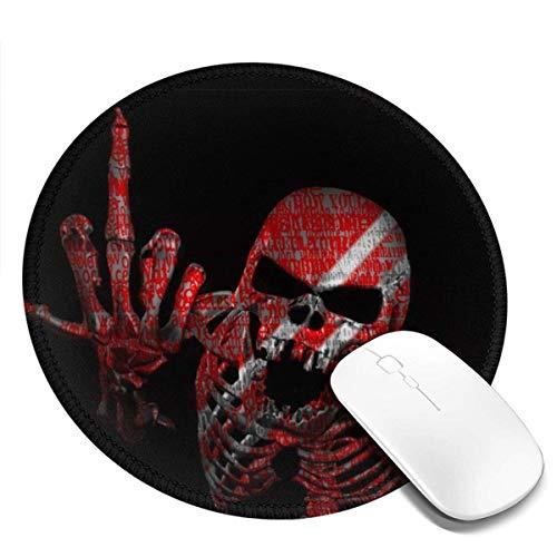 Runde Gaming-Mauspads Ficken Sie Schädel Schwarz Rot Mauspad Mousepad Rutschfeste Gummibasis Mauspad Mauspads 7,9 Zoll