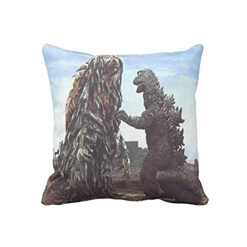 Godzilla vs smog Pattern Funda de almohada 45,7 x 45,7 cm