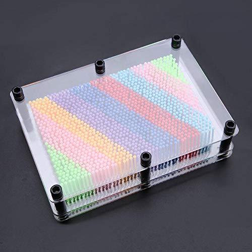 Oumefar Escultura de plástico 3D Pin Art Board Pin Escultura Clásico Pin Art Board Juguete de escritorio para esculturas Niños y Adultos Regalo de aprendizaje colorido (medio transparente)
