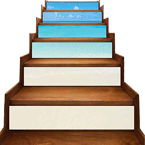 Pegatinas 3D coloridas para escaleras, paisaje de costa, luces de sol, palmera, removibles, impermeables, decoración del hogar, Negro-08, 7'x39.3'x6pcs