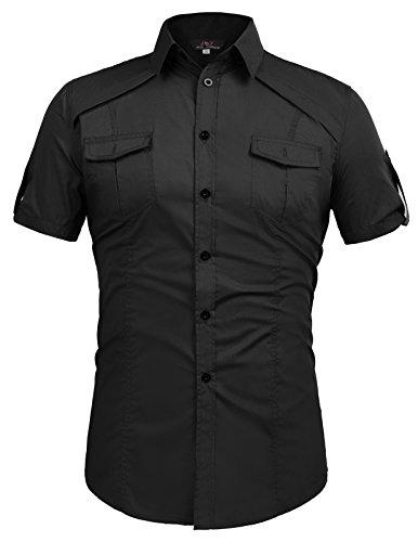 Short Sleeve Dress Shirt for Men Fashion Smart Black (L) KL-1 CL4404