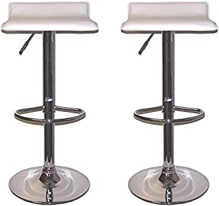 American Furniture Outlet AFO #4486WH Contemporary Air Lift White Swivel Bar Stools, Adjustable Seat Height: 23-32