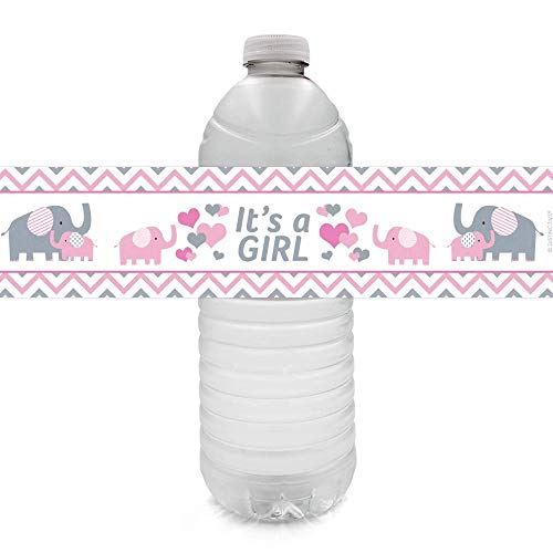 Pink and Gray Elephant Girl Baby Shower Water Bottle Labels - 24 Stickers