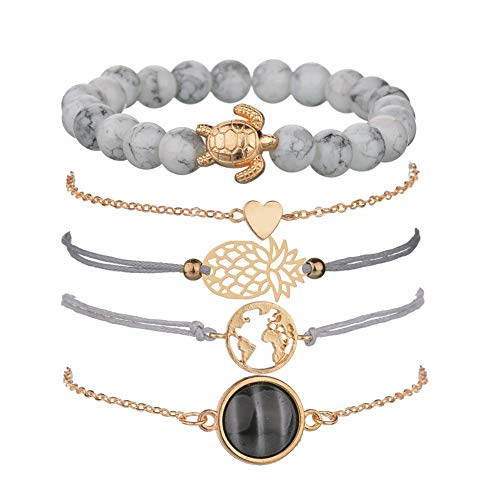 Beaded Bracelets for Women - Adjustable Charm Pendent Stack Bracelets For Women Girl Friendship Gift Rose Quartz Bracelet Links with Pearl Gold Plated 5pcs/Set (Stone & Turtle bracelet)