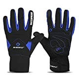 INBIKE Men's Winter Cold Weather Thermal Windproof Gel Bike Gloves Blue Medium