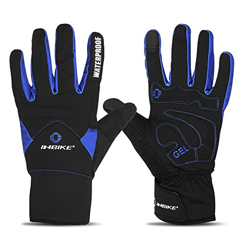 INBIKE Men's Winter Cold Weather Thermal Windproof Gel Bike Gloves Blue Large