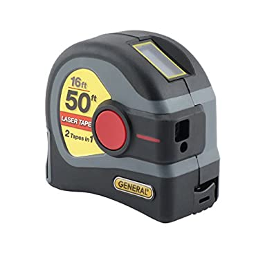 General Tools LTM1 2-in-1 Laser Tape Measure, LCD Digital Display, 50' Laser Measure, 16' Tape Measure